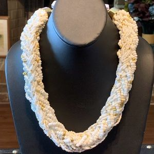 NWT white and gold beads twisted necklace 2/$14
